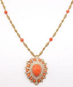 David Webb Coral and Diamond Brooch Necklace