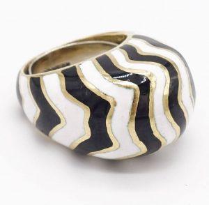 David Webb High Dome Zebra Stripe Enamel Ring