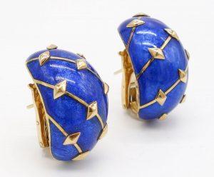 Blue Enamel and 18K Earrings by Jean Schlumberger for Tiffany & Co.