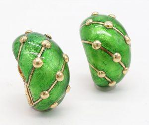 Green Enamel and 18K Earrings by Jean Schlumberger for Tiffany & Co.