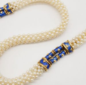 Multi Strand Pearl and Enamel Necklace by Jean Schlumberger for Tiffany & Co.