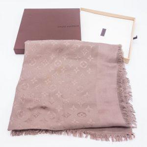 Louis Vuitton silk wool Monogram shawl.