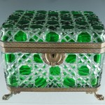 19c Green Cut to Clear Bronze Dore Box- antique decorative arts