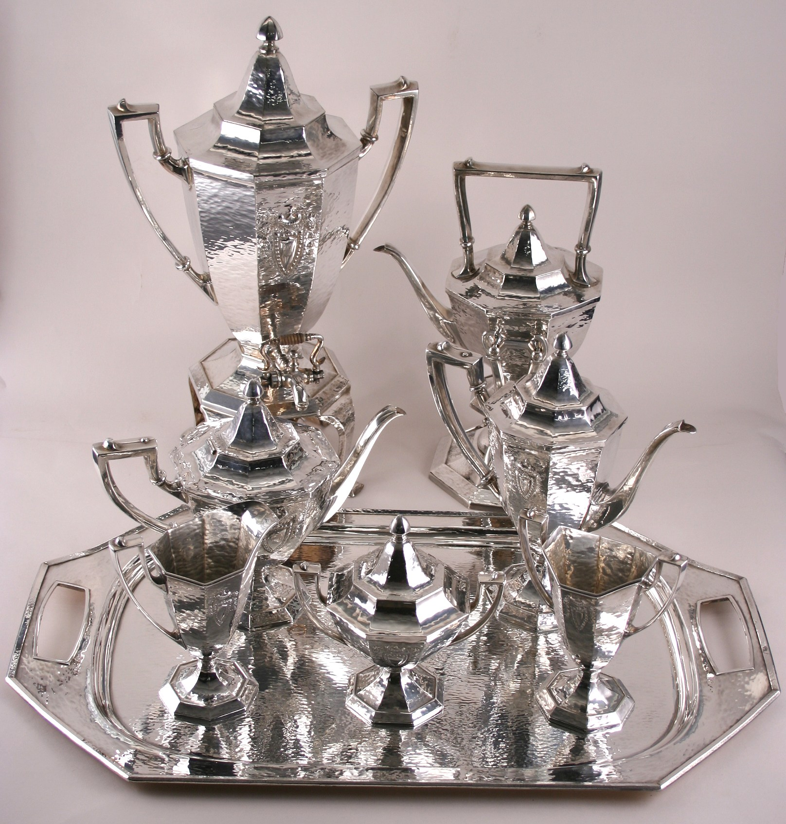 Antique Sterling Silver Art Deco Sheffield Tea Service with Tray