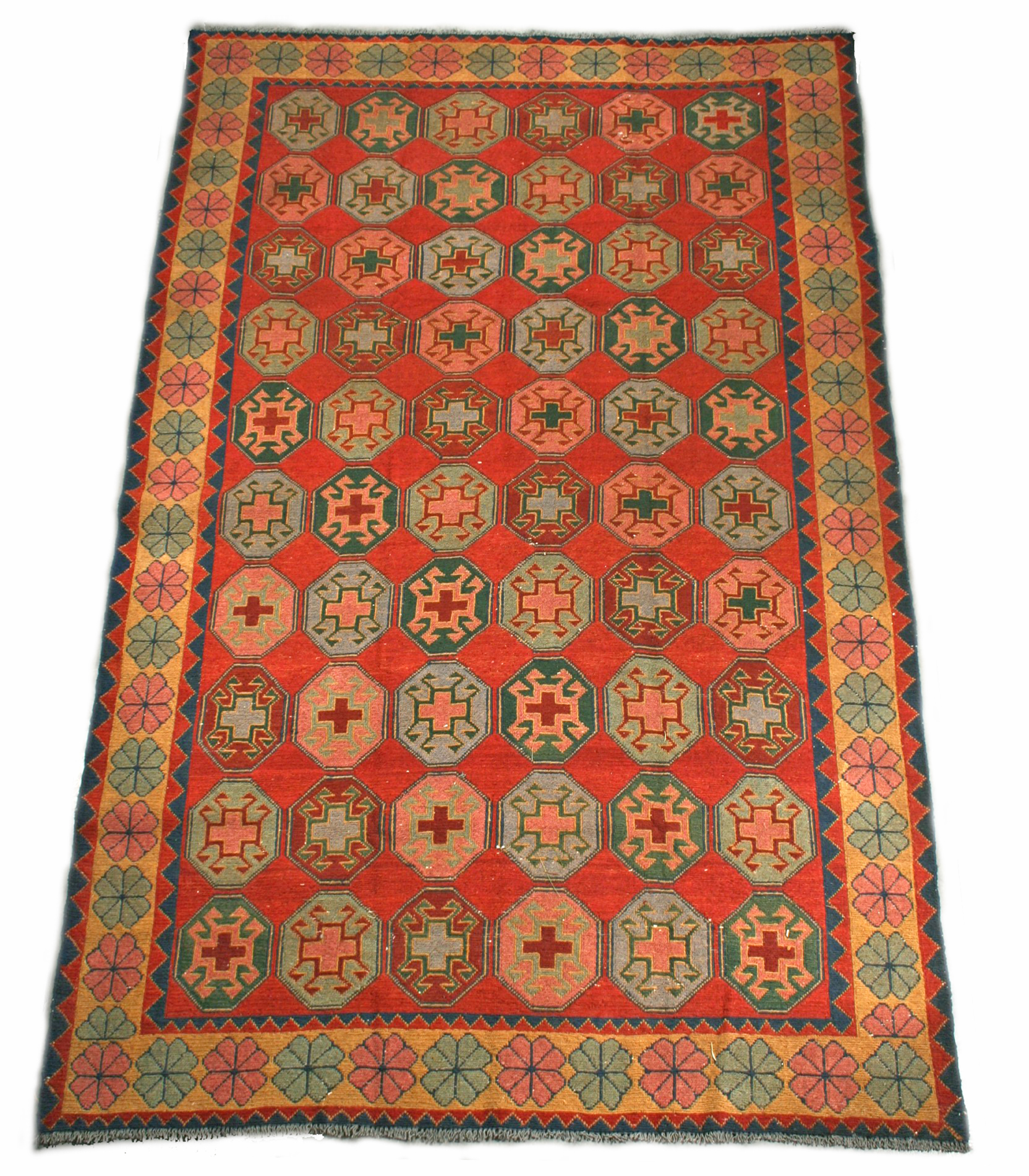 Antique Geometric Soumak Woven Rug