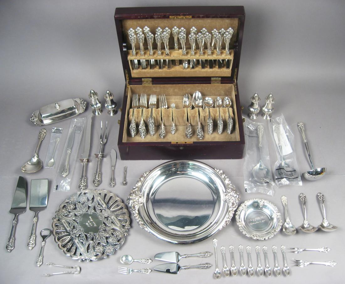 Antique Cased Set Sterling Silver Flatware with Serving Pieces and Trays
