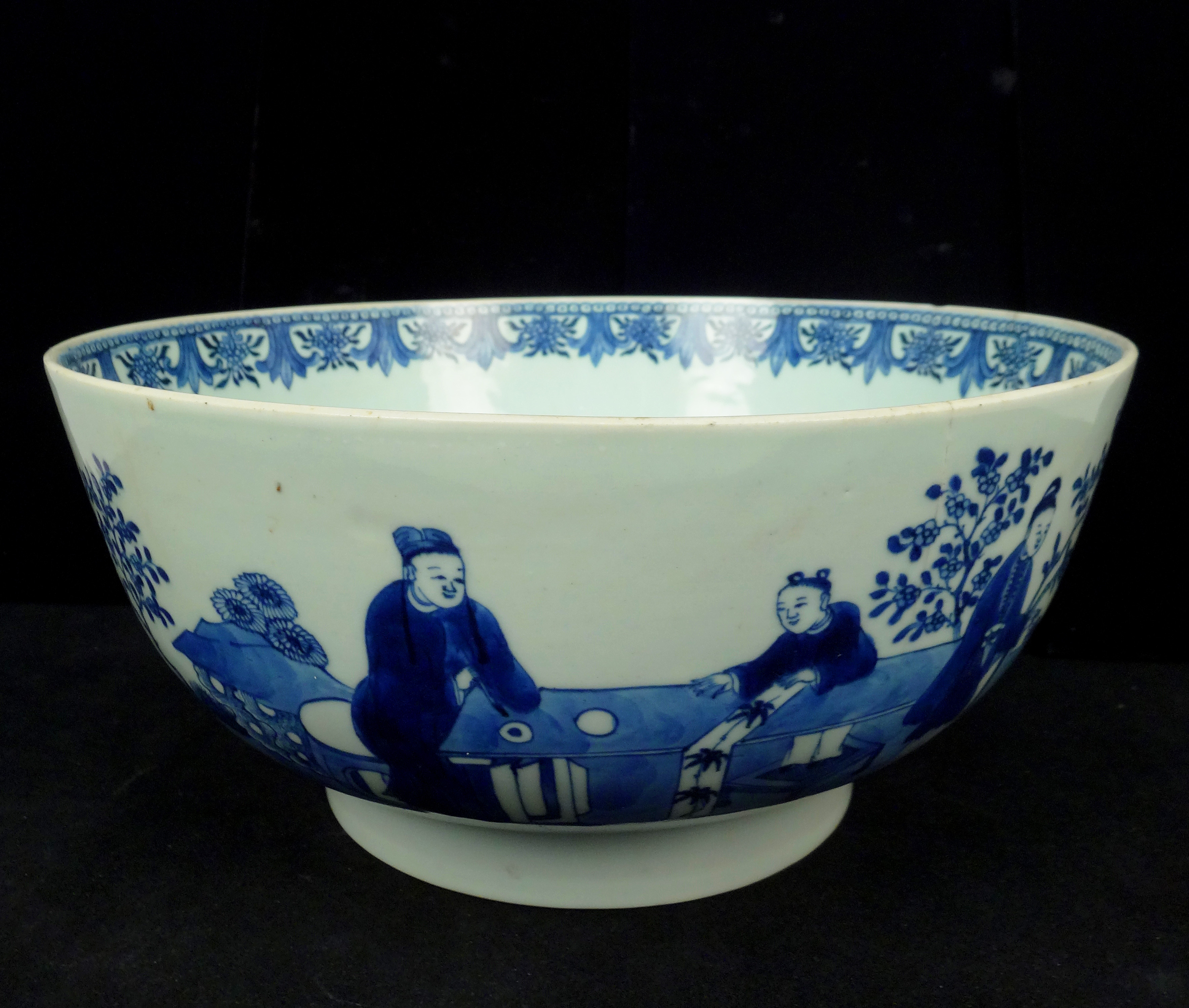 Antique Painted Porcelain Blue & White Chinese Punch Bowl