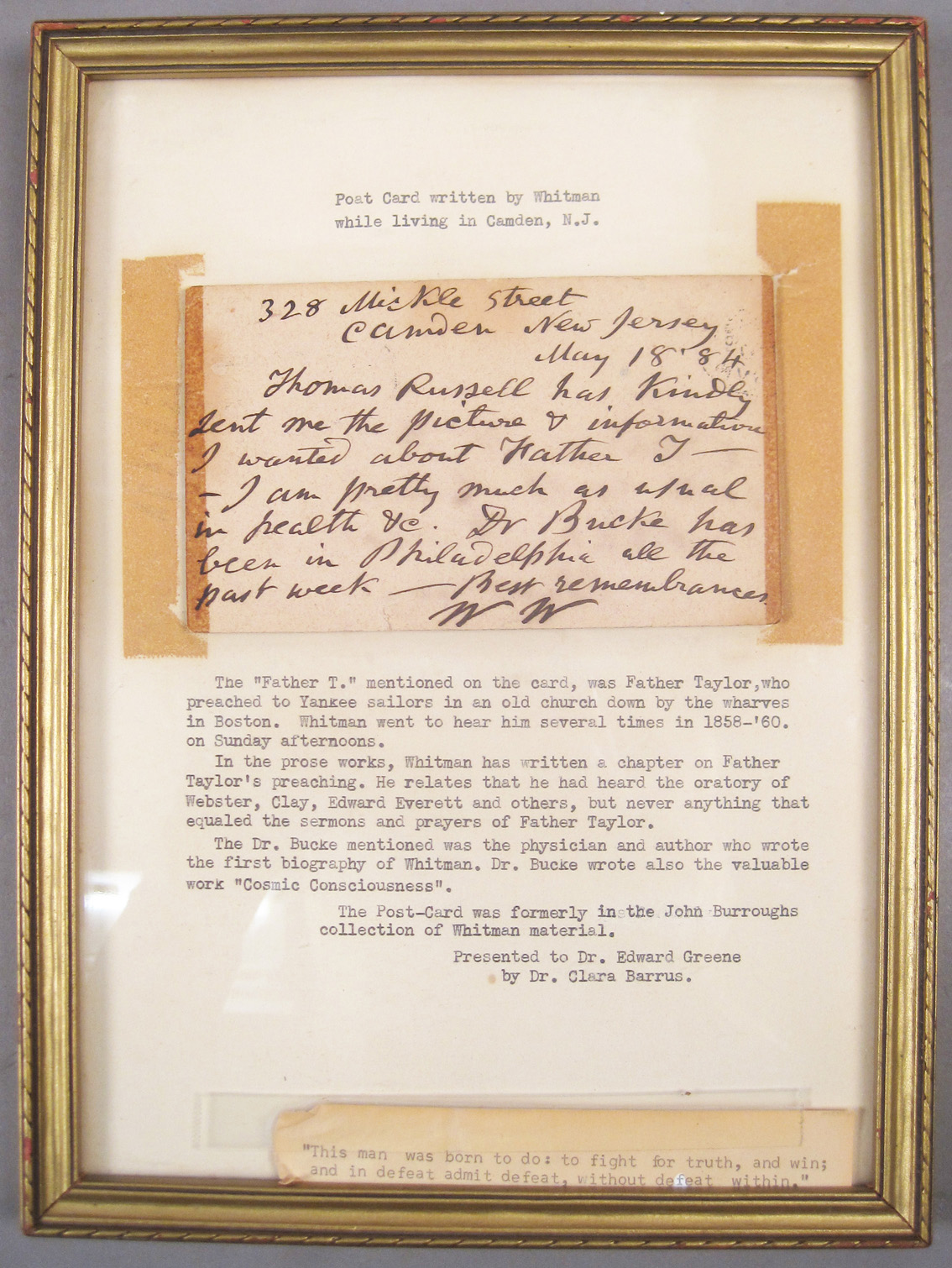 Antique Hand Written Letter by Walt Whitman on Consignment