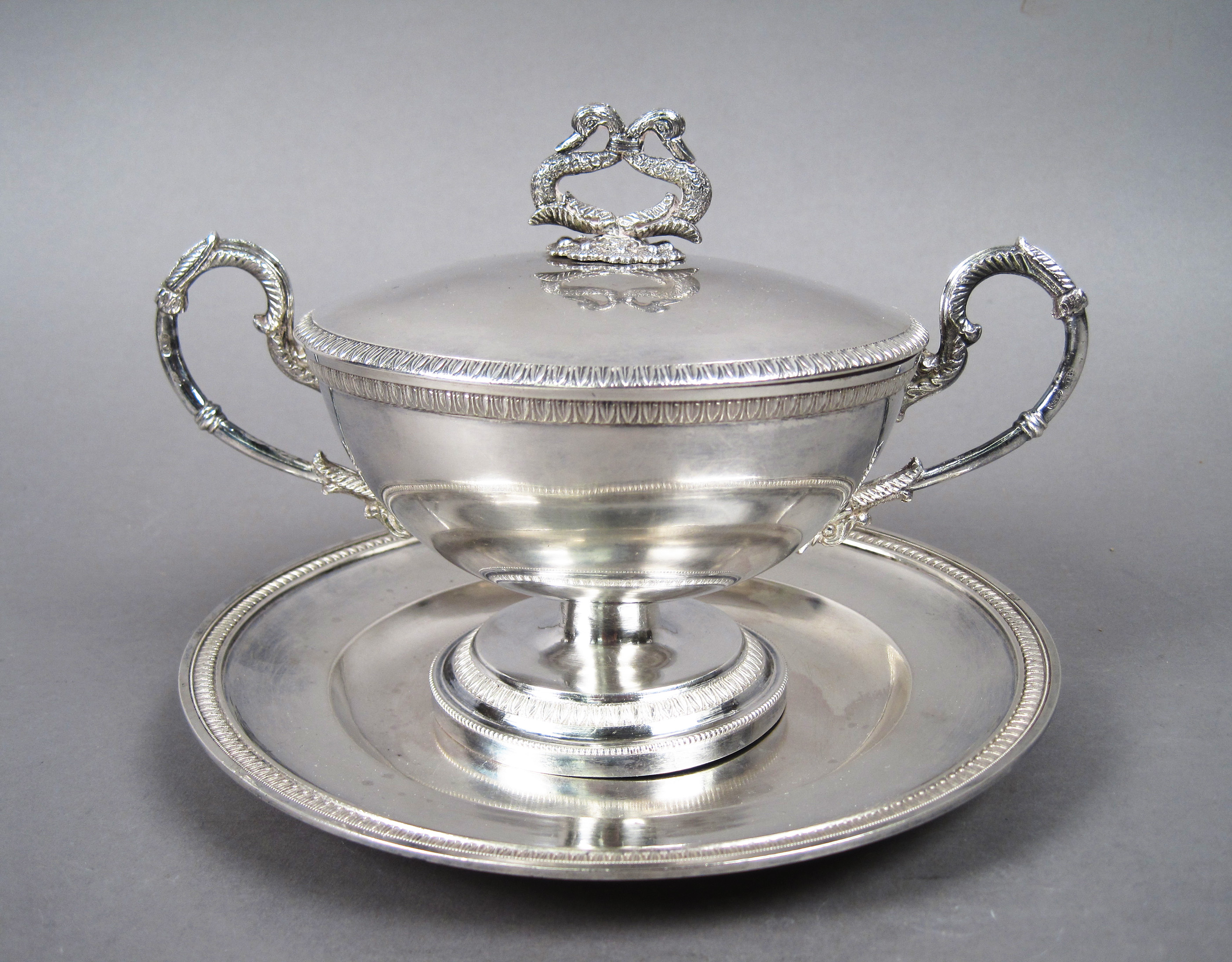 Antique Sterling Silver Covered Dish with Figural Swan Neck Handle
