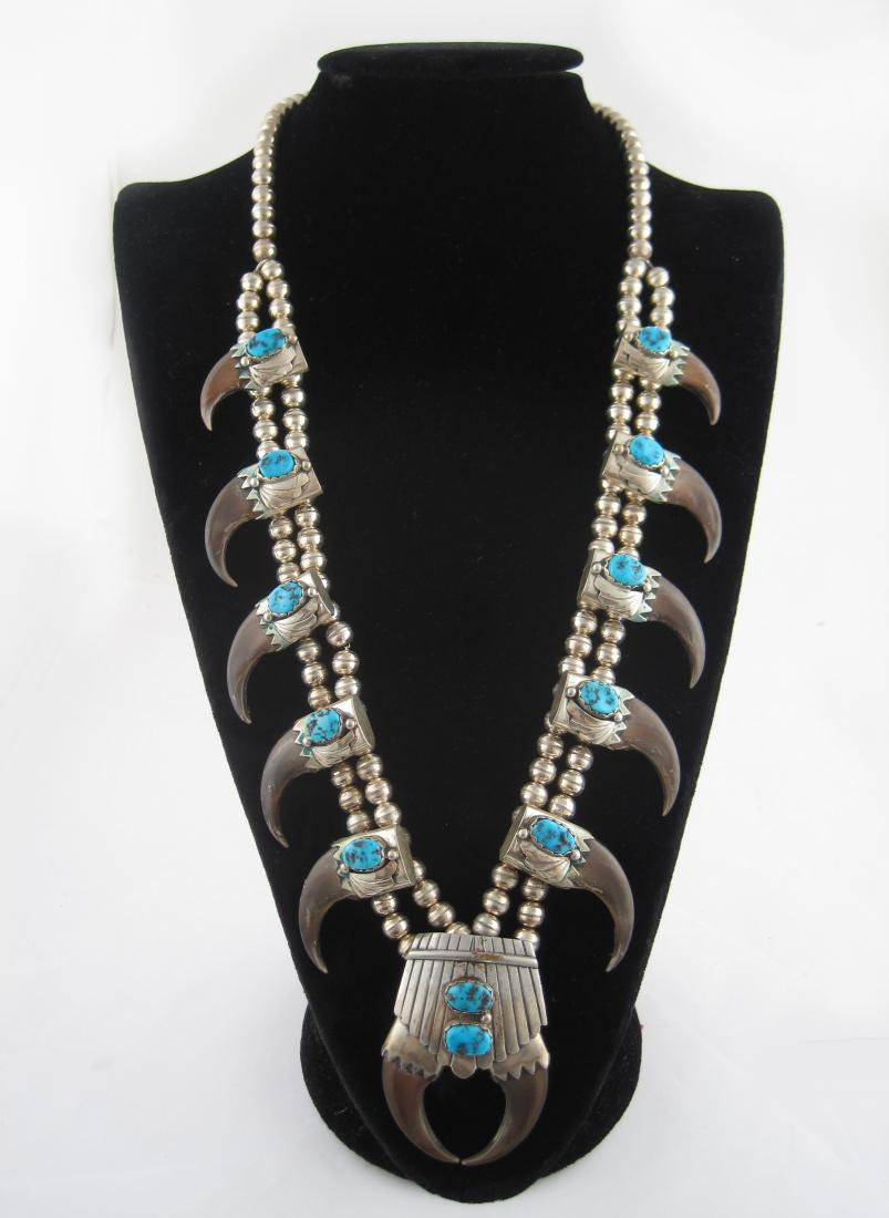 American Indian Pawn Sterling Silver and Turquoise Bear Claw Necklace