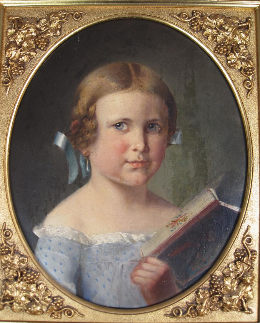 Antique Oil Painting Portrait of a Child with Book Gilded Frame