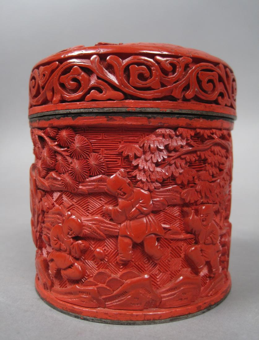Antique Carved Wood Landscape Scene Cinnabar Lacqerware Tea Caddy