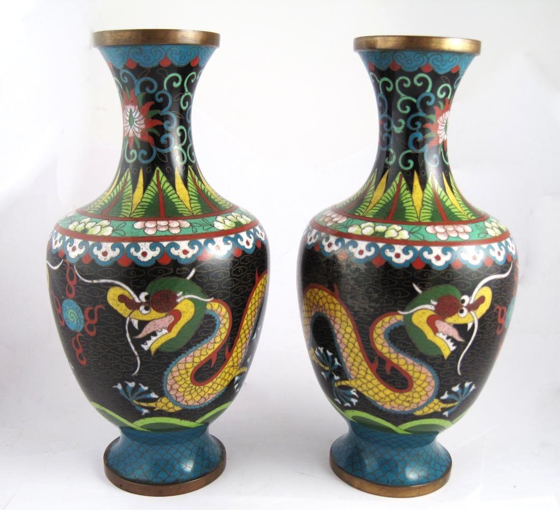 Asian Antiques Saratoga Springs Ny Cloisonne Enamel Metal Vase Dragon