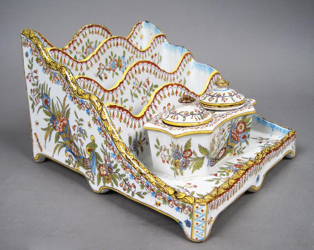 Antique Faience Letter Holder