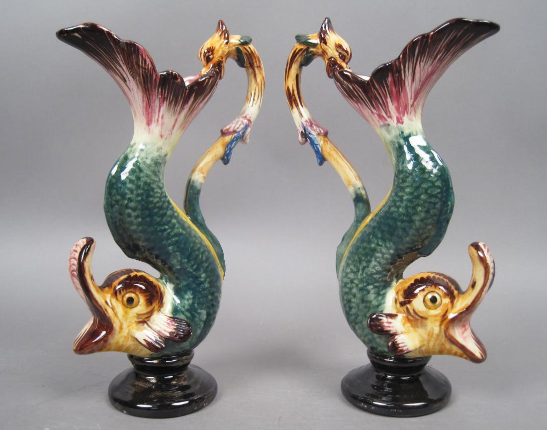 Pair Antique Hand Painted Figural Fish Handled Pitchers