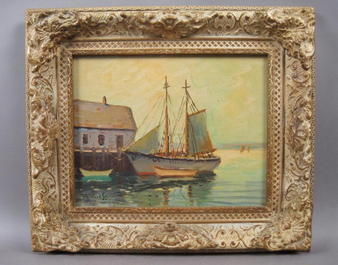 Antique Oil Painting Seascape with Boat and Dock