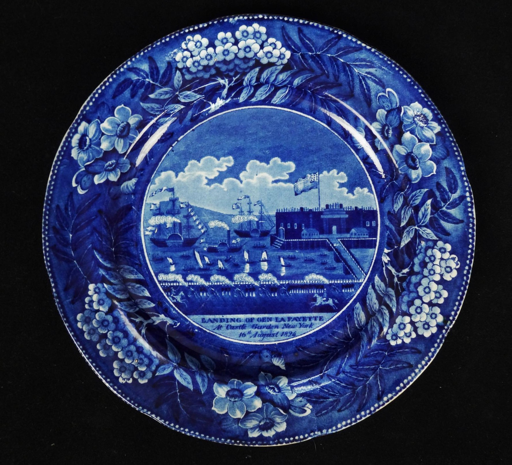 Antique Blue and White Transfer Historical Staffordshire Lafayette Seascape Plate