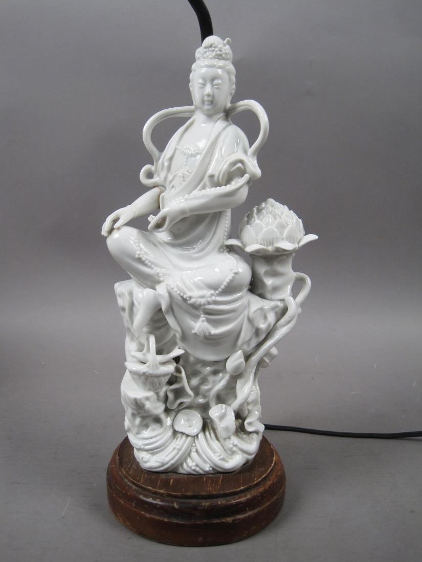 Antique Chinese Glazed Porcelain Buddha Lotus Figural Lamp