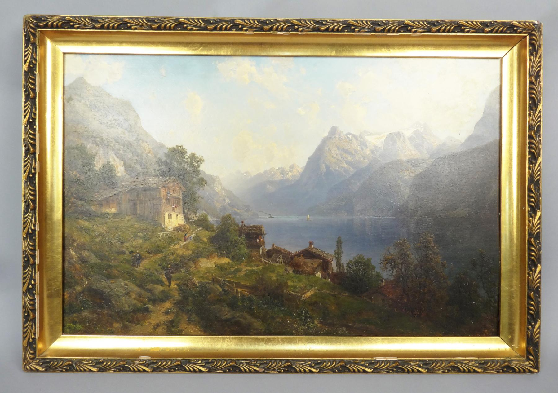 Antique Oil Painting Monumental Landscape Cottages on Mountains with Lake