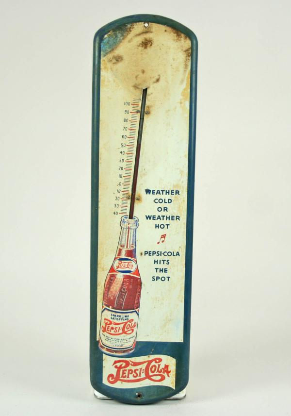 Vintage Pepsi Cola Mercury Thermometer Enamel Metal Advertising Sign