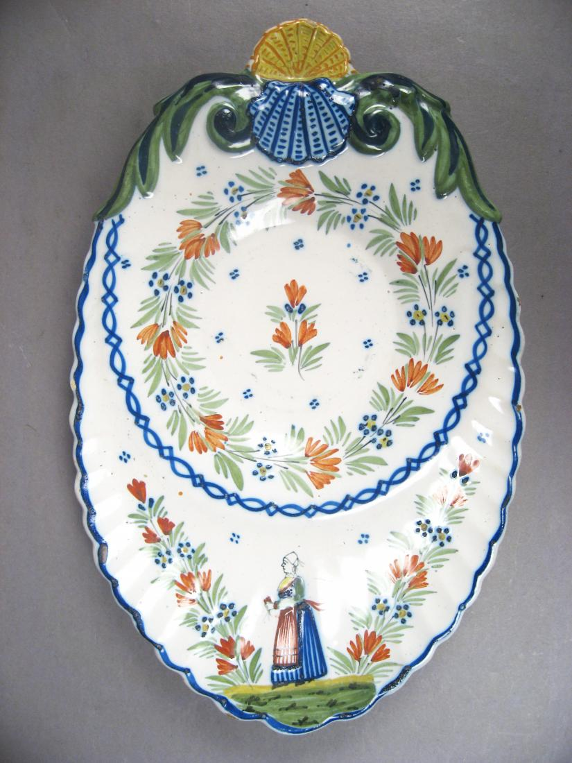 Antique Quimper Faience Tray