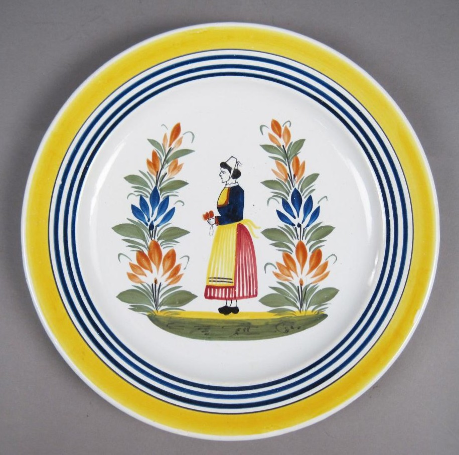 Antique Quimper Faience Plate with Peasant Woman
