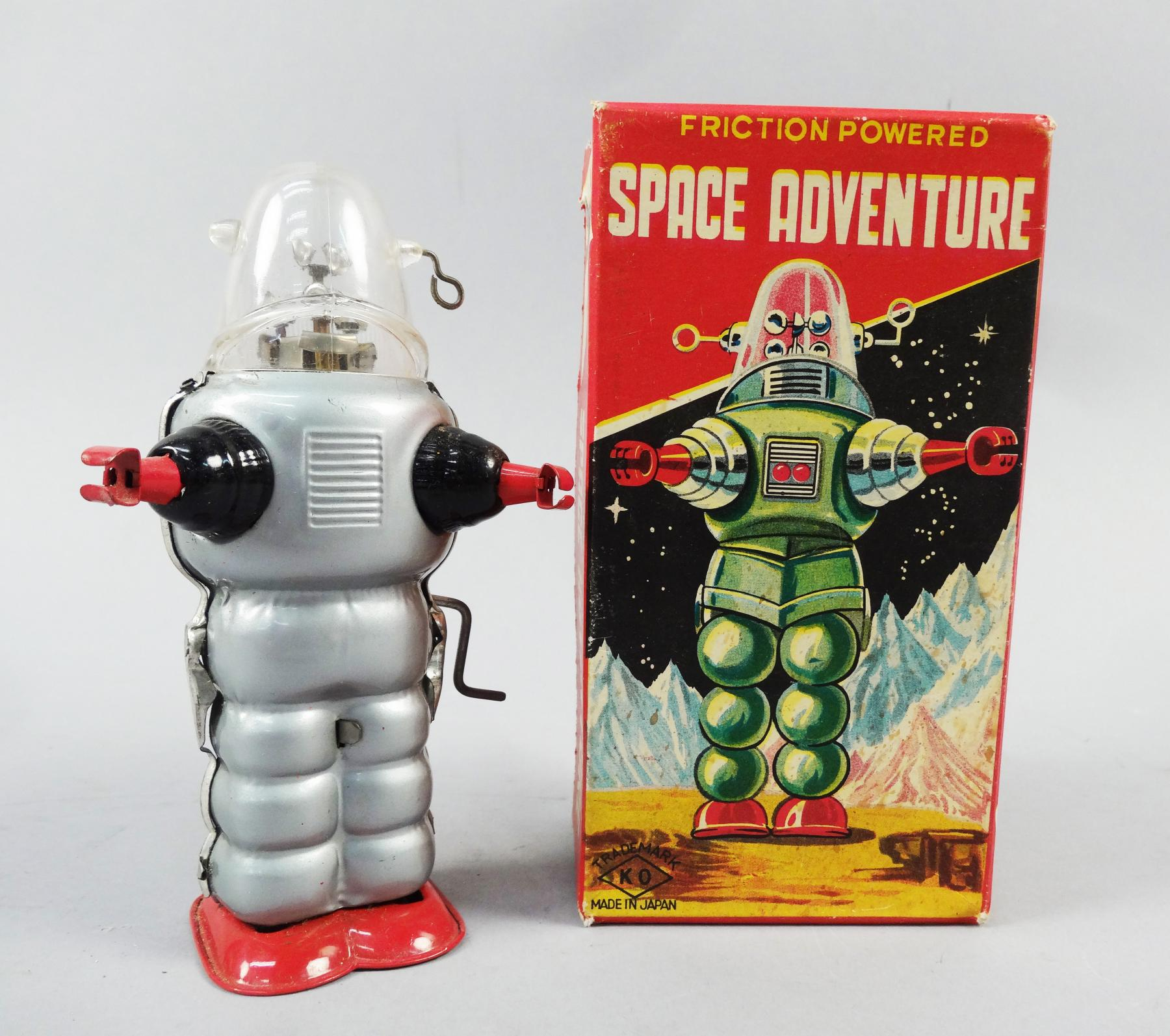 Rare Vintage Boxed Mint Space Age 1950s Mechanical Toy Robot