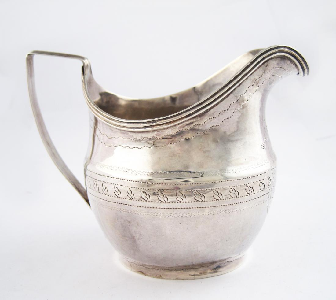 Antique Finely Engraved Sterling Silver Creamer
