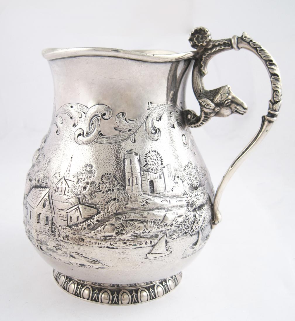 Sterling Silver Etched Landscape with Ships and Lighthouse Figural Handle of a Sheep Pitcher