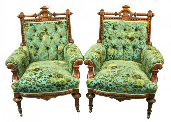 Antique Victorian Brocade Upholstered Carved Wood Inlay Armchairs