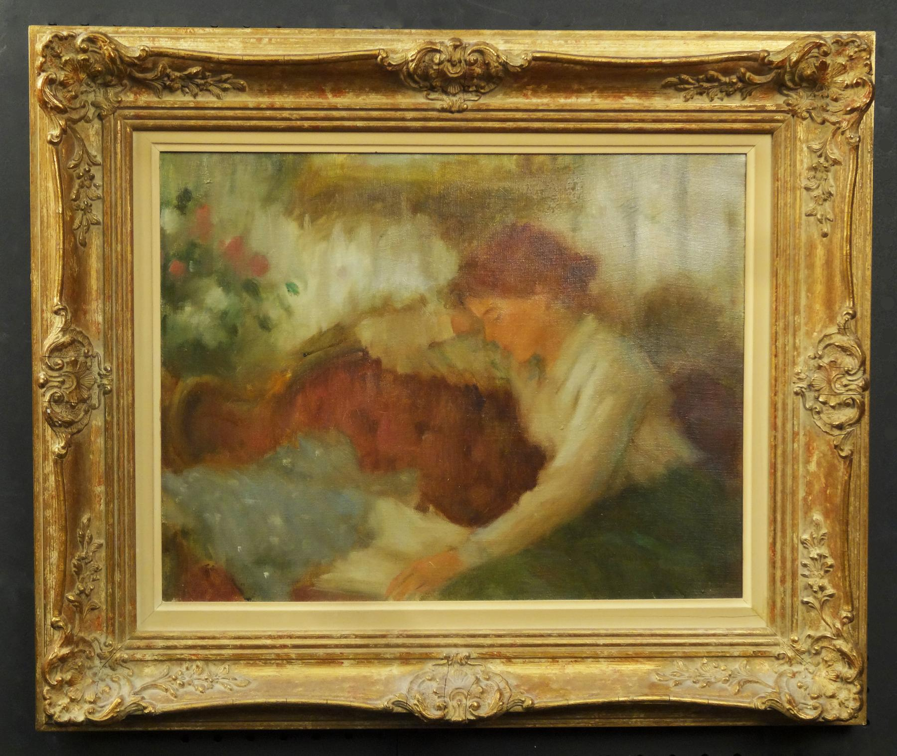 Gilded Framed Oil Painting of a Woman Reading